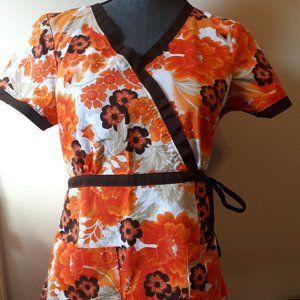 Koi Scrubs Top Uniform Floral orange brown small
